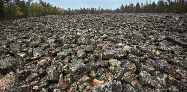 Kivijata stenfält österut.